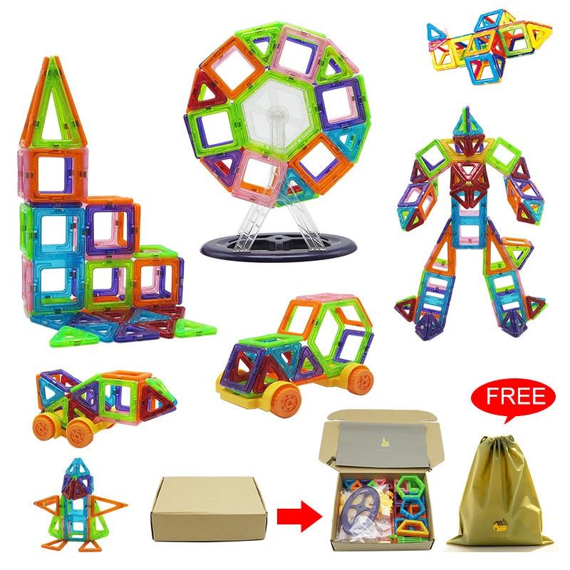 96-172pcs Mini Magnetic Blocks  Designed Construction Blocks 3D Model Building Magnet Brick Educational Toys Gift For Kids New