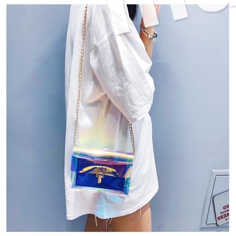 JIAOO Laser Transparent Bags Fashion Women Crossbody Bags for Women Korean Style Shoulder Bag Messenger PVC Waterproof Beach Bag 6