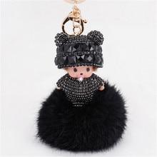 Luxury Fluffy Monchichi Faux Fur PomPom Key Chains Rhinestone Keychains Monchhichi Dolls Keychain Rings Holder Cover Chain Women