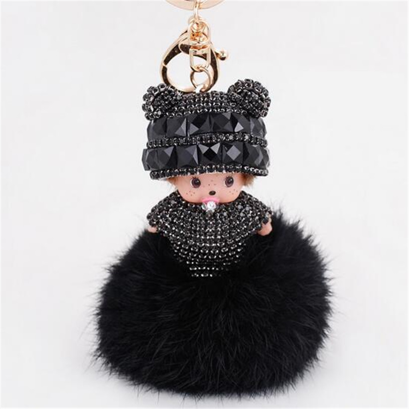 Luxury Fluffy Monchichi Faux Fur PomPom Key Chains Rhinestone Keychains Monchhichi Dolls font b Keychain b
