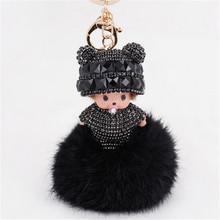 Luxury Fluffy Monchichi Faux Fur PomPom Key Chains Rhinestone Keychains Monchhichi Dolls Keychain Rings Holder Cover Chain Women