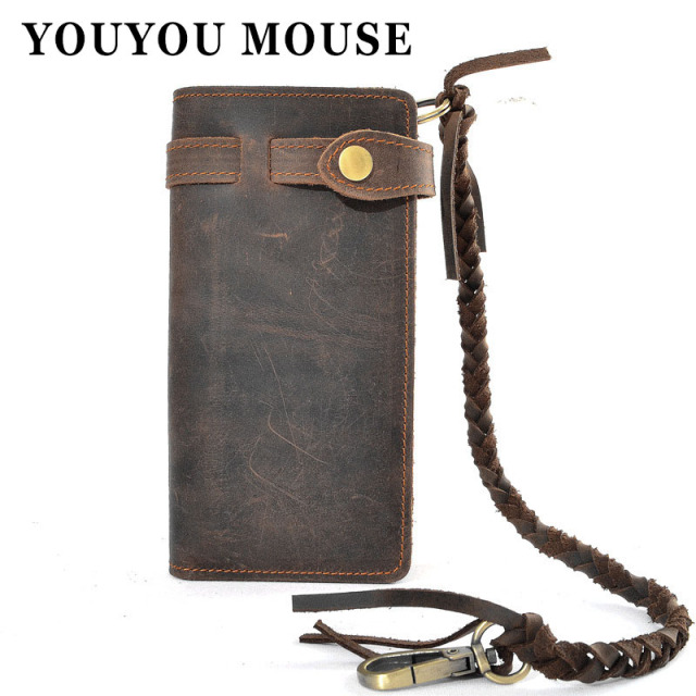 YOUYOU MOUSE Hand-Woven Rope Crazy Horse Leather Genuine Mens Long Wallets Top Quality Cowhide Wallets Men Soft Vintage Purse