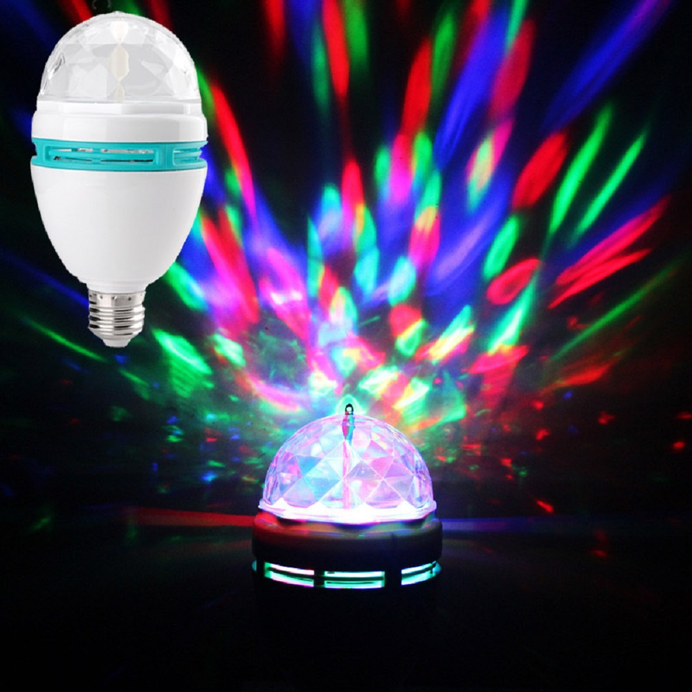 E27 3w 220v Multicolor Auto Rotating Rgb Led Bulb Stage
