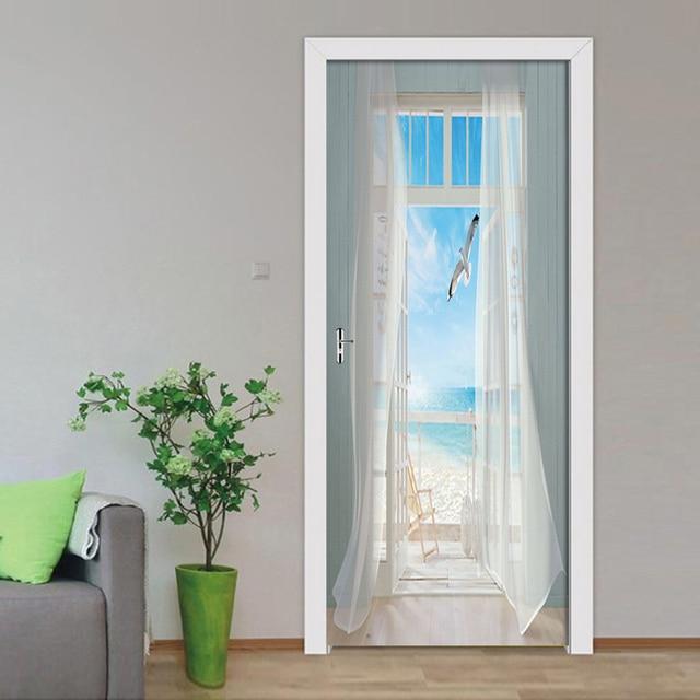 Фото съемные наклейки на двери европейские 3d декорации по морю водонепроницаемые цена