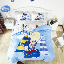 Disney 3D Mickey Mouse Bedding Set Blue Duvet Cover Set Bed Linen for Boys Girls Christmas Gift 4pcs Free Shipping(China)