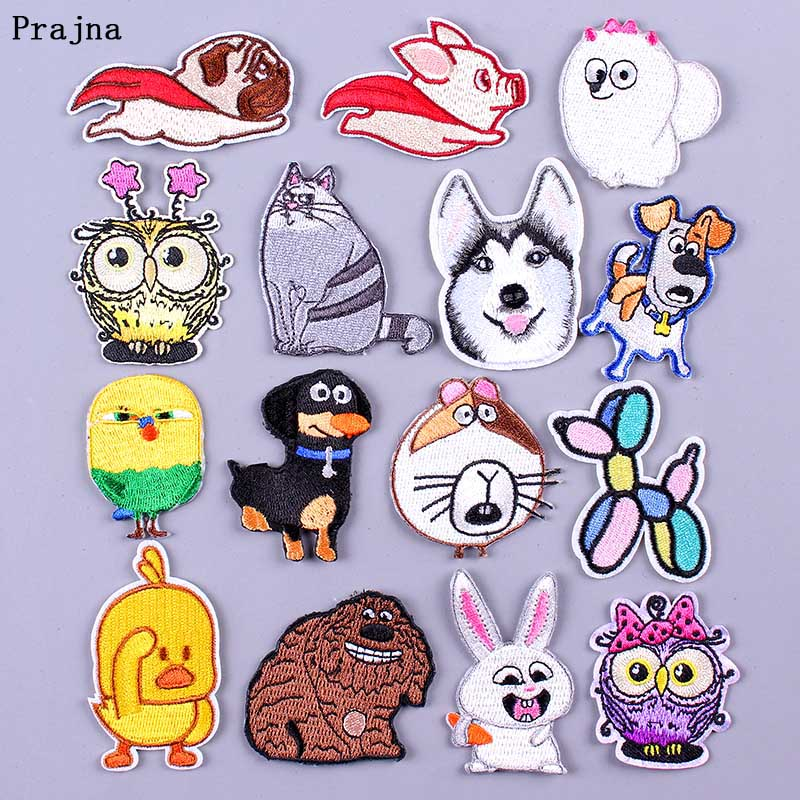Prajna Animal Cute Patch DIY Embroidered Iron-on Patches for Clothing Badge Cartoon Unicorn Sequins Applique Hook Loop  F