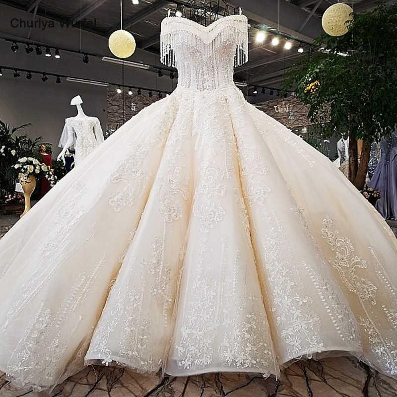 LS65392 שנהב כבוי כתף מתוקה כדור שמלת תחרה עד בחזרה עבודת יד חתונה שמלות מסין vestido דה noiva מכירה לוהטת
