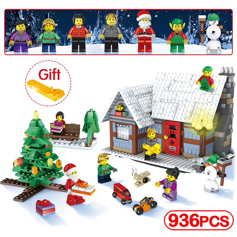 936pcs Santa Claus House Compatible Legoinglys Christmas Tree Building Blocks Brick Education Children's Toys Birthday Present christmas santa house face number watch page 5