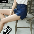 Summer Style Denim Shorts For Women Short Jeans Asymmetrical Bottoms Stretch Denim Fabric High Waist Shorts woman