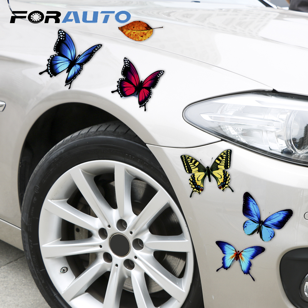 Lovely Butterfly Leaves Cartoon Reflective Funny Auto Decals Motorcycle Car Decal Car-Styling Sticker Scratch Cover Car Stickers