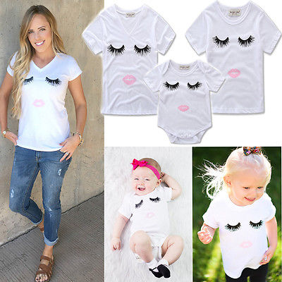 2017 New Family Match Clothes Summer Short Sleeve Eyelash T-shirt Tops Women V-Neck Tshirt Kids Casual Tops Baby Romper Outfit