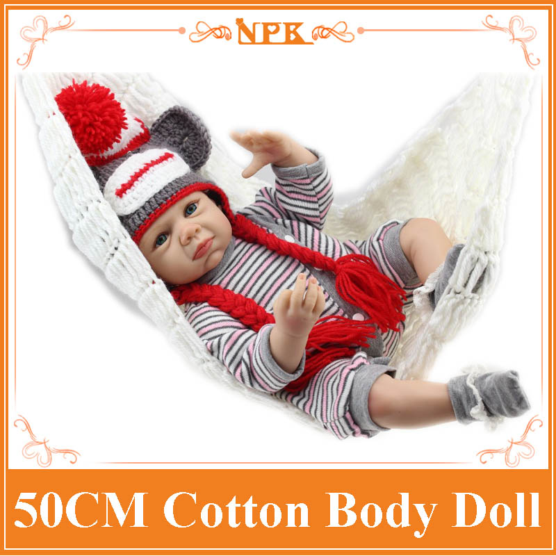 Top Fashion 50CM soft silicone reborn baby dolls cute girls mohair rooted bonecas toys for girls baby mannequin Free Shipping baby care top top