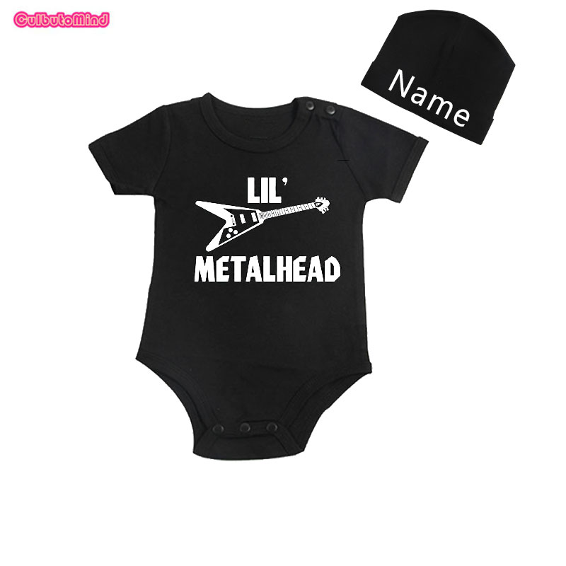 Culbutomind Lil Metal Head Short Sleeve One Piece Baby Body Suit with Customized Name Cap for NB-12Months Baby Summer Boy Girl
