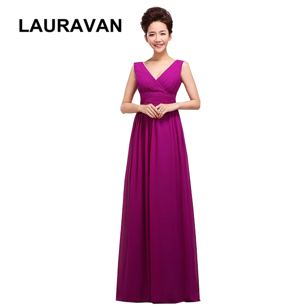 Simple Semi Formal Fashion Modest Floor Length Chiffon Long Dress Deep Purple Royal Blue Fuchsia Bridesmaid Dresses Under 100 In From