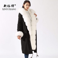 XINYUXIANG Real fox fur coat women X Long Thick Hooded fox fur collar Rex Rabbit Fur Lining parka winter real fur Jacket New