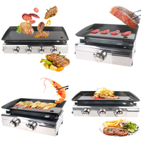 ITOP New 1/2/3/4 Burners Gas Grills BBQ Plancha Steak Beaf Gas Griddle Plancha Iron Cooking Plate Outdoor Barbecue Tools