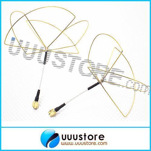2pcs 1 2G 1 2GHz Clover Leaf Antenna Circular Polarized SMA male for 1 2Ghz 1