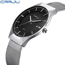 CRRJU Japan Famous Brand Men Watches Casual Simple Style Watches Stainless Steel Quartz Wristwatches Male Sport Military Watches