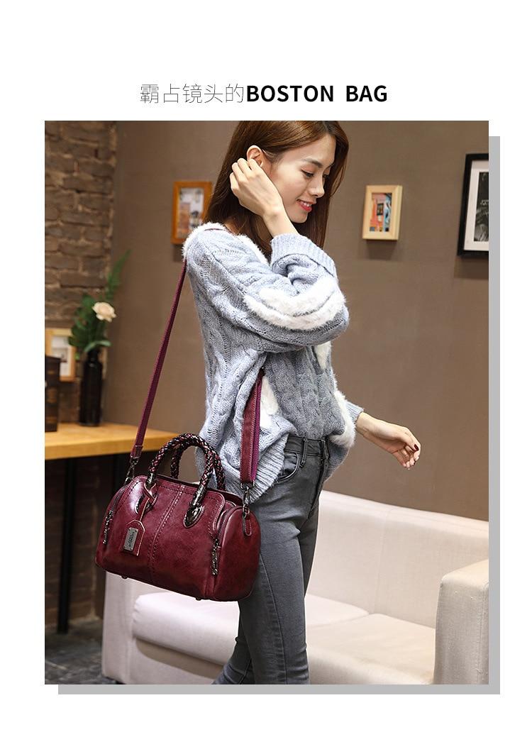 Nova primavera do vintage couro genuíno bolsas