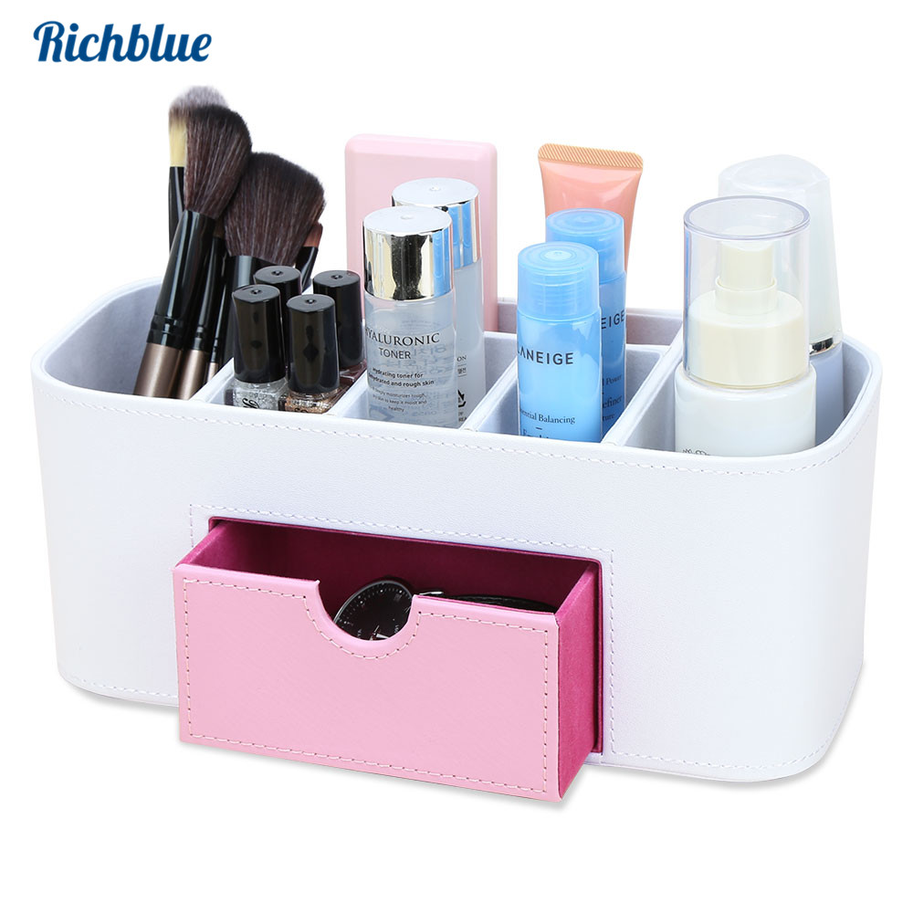 PU Leather Makeup Organizer Jewelry Storage Box Makeup Brushes Holder Desk Organizer Drawer Cosmetics Cotton Swabs Jewelry Case