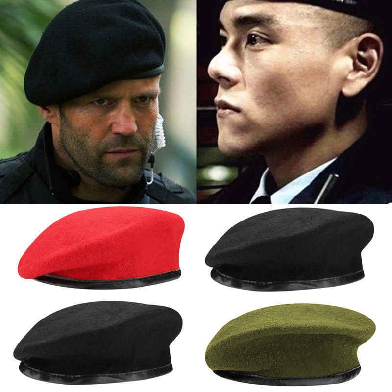 c411fb36bde Fashion Military Soldier Army Hat Unisex Men Women Wool Beret Cap Men Hot  Berets Male Hats