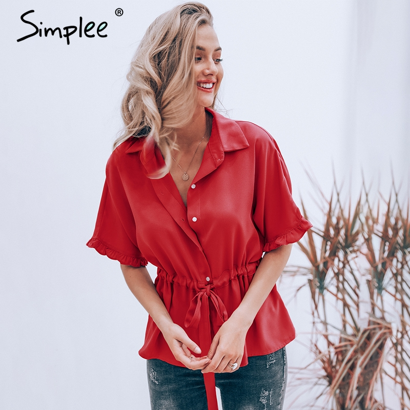 Simplee Casual Ruffle Turn Down Collar Women Blouse Loose Short Sleeve Sashes Female Shirt Elegant Office Solid Tops Blouses