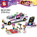 278pcs friends Pop Star Limo Building Kit Sets minis Leping friends for girl Blocks girl friends toys SY382