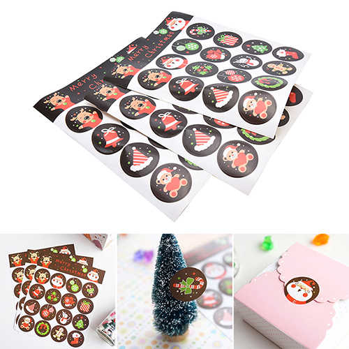 48pcs Labels Stickers Kitchen Sweets Merry Christmas Cookie/Cake/Gift Party Seal Sticker Gift Kraft Sticker Scrapbooking