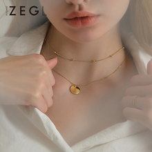 ZEGL layered necklace female necklace clavicle chain simple round coin pendant short necklace necklace neck jewelry coin layered bolo necklace