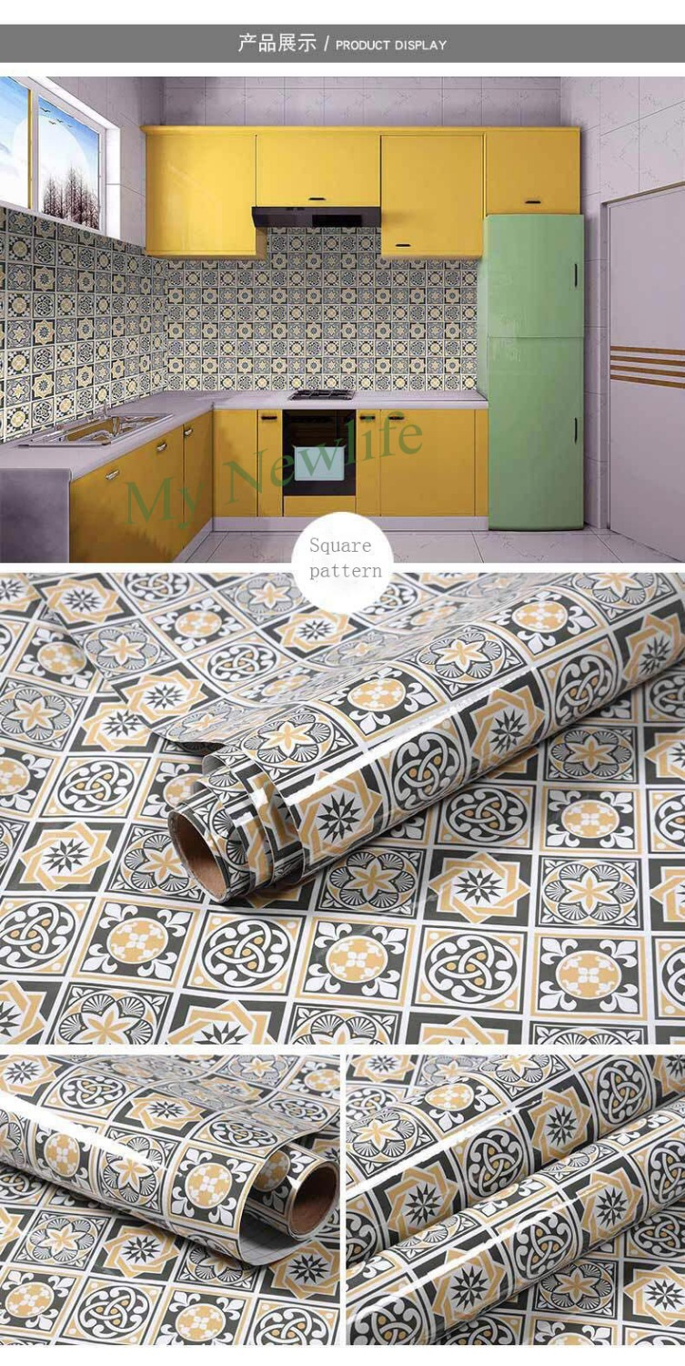 Oilproof Kitchen Decor tile Wall Stickers Waterproof Self Adhesive Wallpaper Bathroom Home Decor Films Wall Decal 60 200cm in Wall Stickers from Home Garden