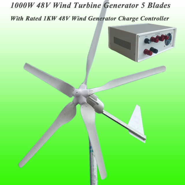 Hot Selling 5 Blades Rated 1000W 48V Wind Generator & Rated 1KW Max 2KW Wind Charge Controller Wind Power Generator Kit
