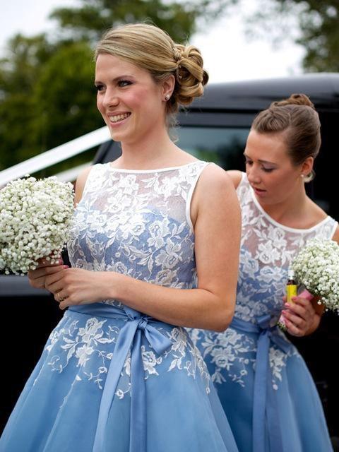 Más nuevos Apliques de Encaje Azul Vestidos de dama de Honor Sin ...