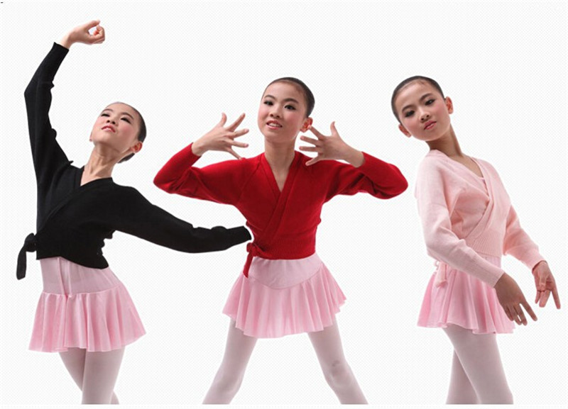 Girls Ballet Knitted Crossover Cardigan Wrap Kids Pink Black Red Color Ballet Dance Sweater