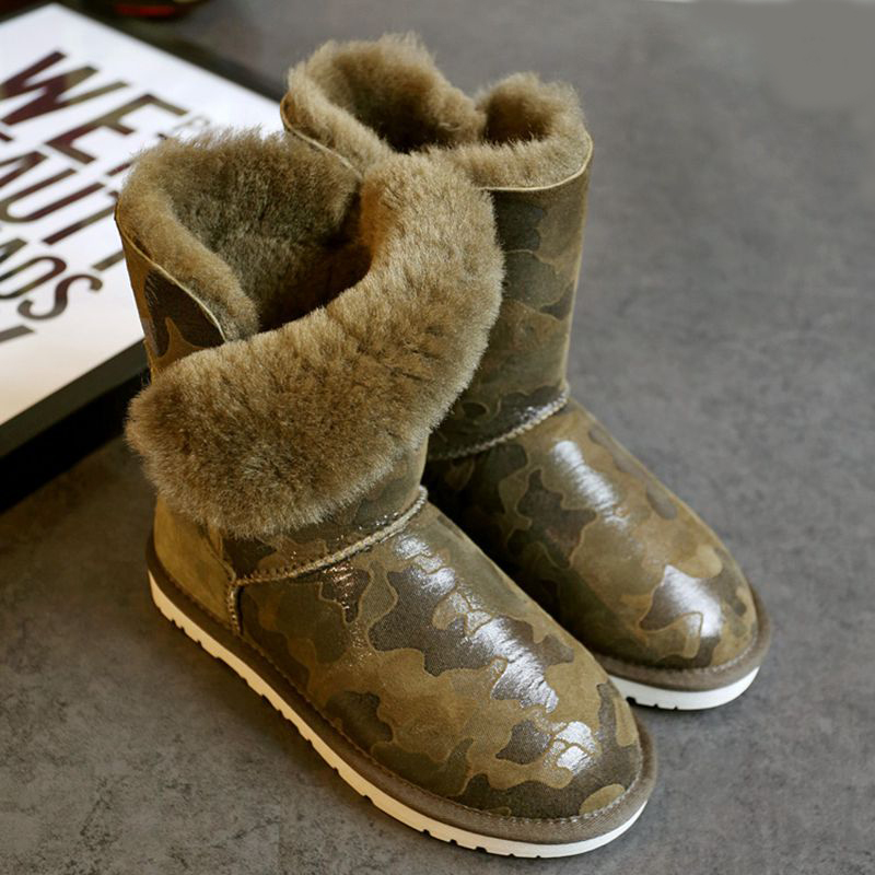 ФОТО High quality winter snow boots new 100% natural sheepskin boot warm boots camouflage green free shipping