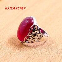 Тайский серебро оптом S925 серебра полые резные красный нефрит кольцо просто новый
