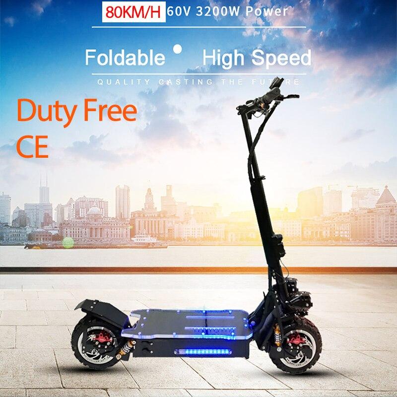 Scooter électrique puissant de 3200 W outre du Scooter électrique adulte de Longboard de planche à roulettes de route Scooter professionnel pliable électrique