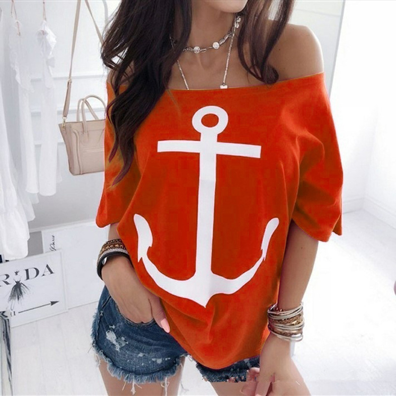 one shoulder Anchor print plus size 5xl 4xl summer women t shirt Batwing Sleeve oversized tops harajuku vogue streetwear funny in T Shirts from Women 39 s Clothing