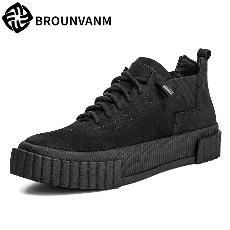 High shoes men casual shoes with thick bottom trend of Korean character British style retro male boots for Martin casual shoes slip on men casual shoes male sandal new fashion genuine leather low heel high quality brand korean style thick bottom plus size