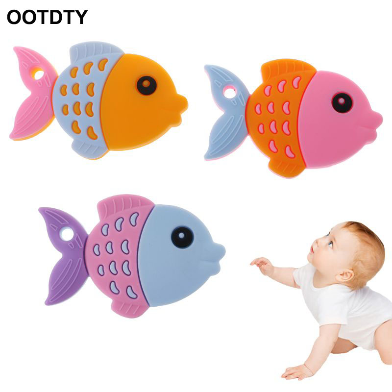 Baby Teether Fish Cartoon Cute Food Grade Silicone Oral Care Nursing Soft Safe Teething Pain Relief Massage Teeth Cleaning Toys