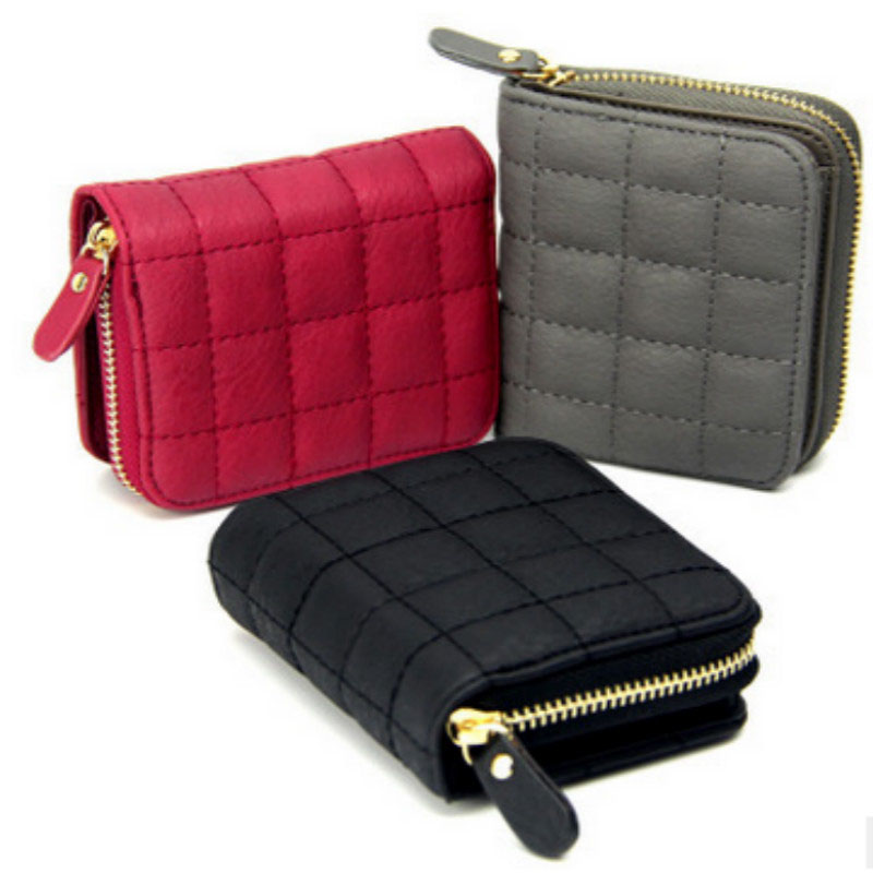 Women Short Wallets PU Leather Female Plaid Purses Nubuck Card Holder Wallet Fashion Woman Small Zipper Wallet With Coin Purse dollar price women cute cat small wallet zipper wallet brand designed pu leather women coin purse female wallet card holder