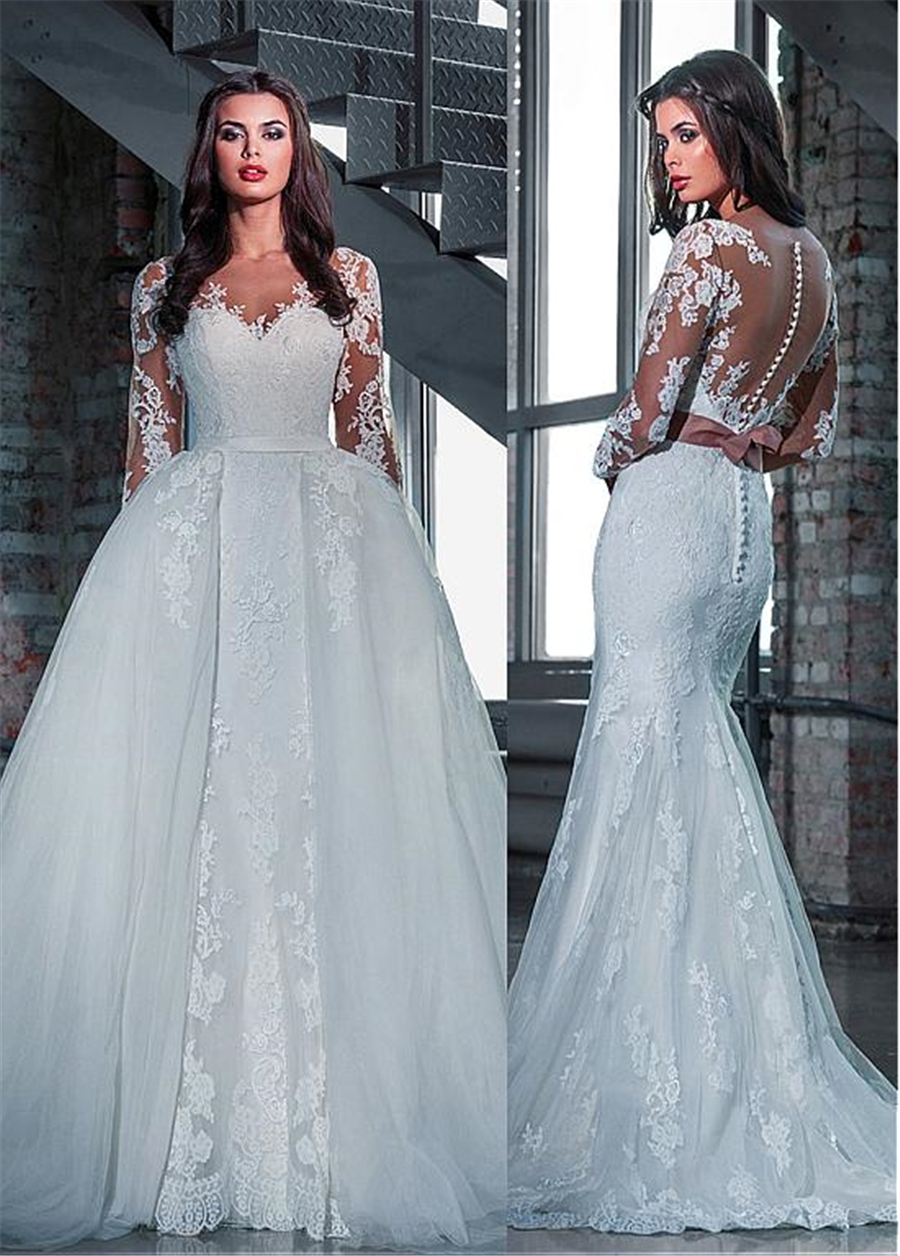 Charming Tulle Bateau Neckline 2 In 1 Wedding Dresses With Lace Appliques Long Sleeves Bridal Dress With Detachable Skirt