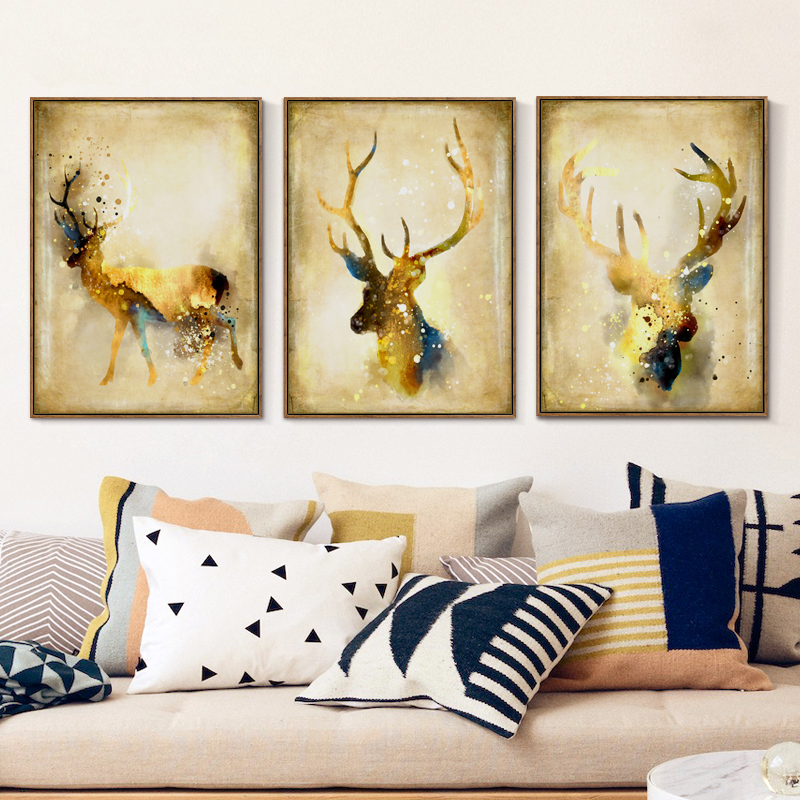Bianche Wall Watercolor Nordic Luxury Gold-Colored Deer A4 Canvas Painting Art Print Poster Picture Modern Home Decoration Mural