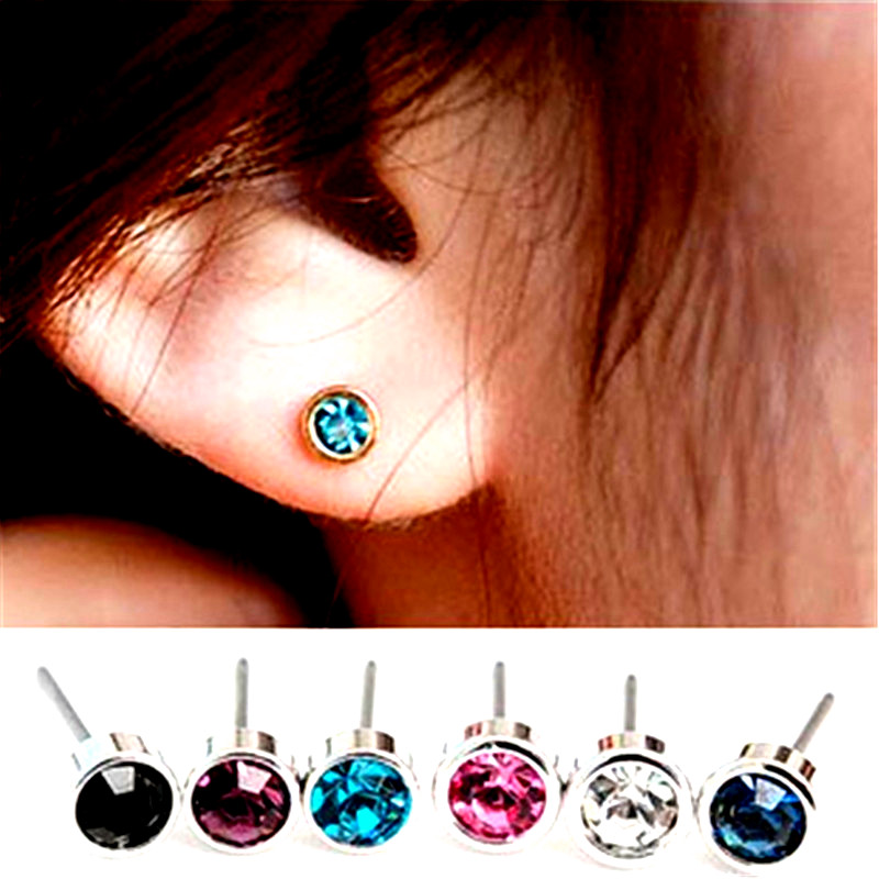 ES003 Bijoux Cute Bling Stud Earrings For Women Crystal Brincos Lady Fashion Jewelry Earing boucle d'oreille femme 2017