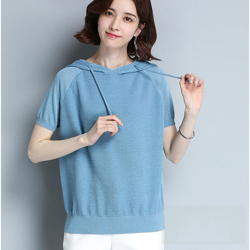 Knitted Loose Summer Short Sleeve Tops With Hood Casual Ladies Knitted Hooded Pullovers Jumper Female Cute Korea Thin Top Female