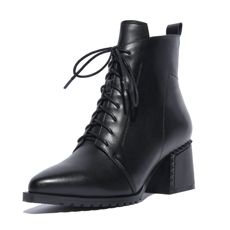 Echtes Stiefeletten Neue High Für brown Stiefel Heel Kreuz Gebunden Mode Spitz Morazora Herbst Winter Schwarzes Frauen 2018 Leder Zip 1pwPq4x8