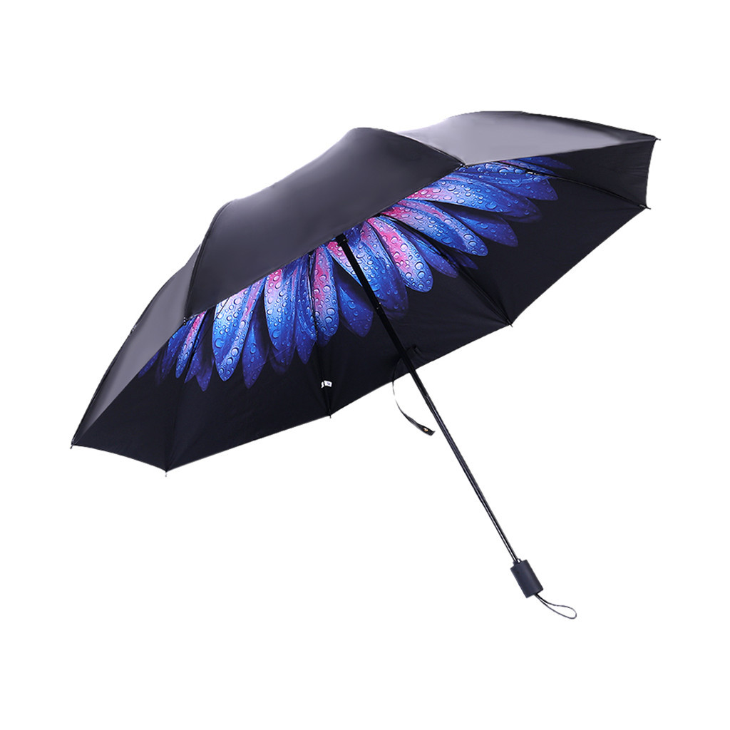 Rain Women Men Dual Sun Umbrella Folding Sunscreen UV Umbrella 8 Bone Blue flowers Umbrella for Sun Rain Gear Parasol Z30619Rain Women Men Dual Sun Umbrella Folding Sunscreen UV Umbrella 8 Bone Blue flowers Umbrella for Sun Rain Gear Parasol Z30619