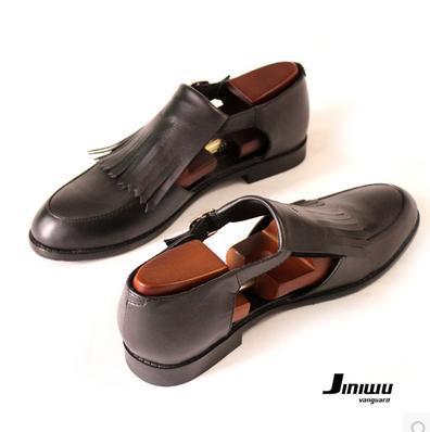 269c66f6cfa jini 2015 fashion men s vintage cutout type tassel cowhide genuinel leather  black sandals male gladator shoes sale