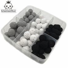 75pcs Black White Gray Series Wooden Crochet Covered Beads Ball For Baby Teething DIY Necklace Mini Crochet Bead DIY Jewelry Kit