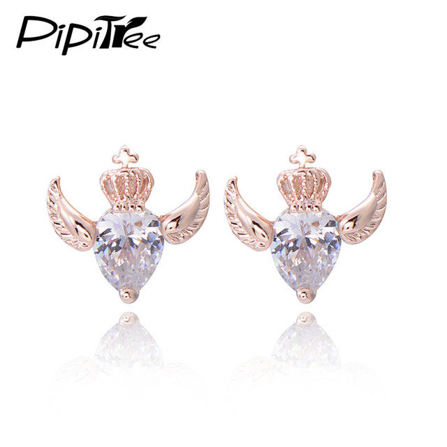 Cheap Rose Gold Angel Wing Earrings Studs