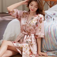2019 summer silk wedding bride bridesmaid floral bathshort kimono night bath dressing gown for